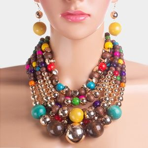 Multi Strand Wood Metal Ball Statement Necklace